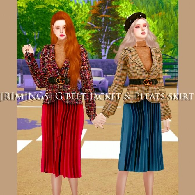 Belt jacket & pleated skirt at RIMINGs image 685 670x670 Sims 4 Updates