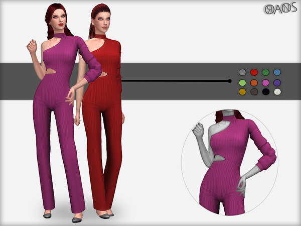 Sims 4 Cut Out One Sleeve Jumpsuit by OranosTR at TSR