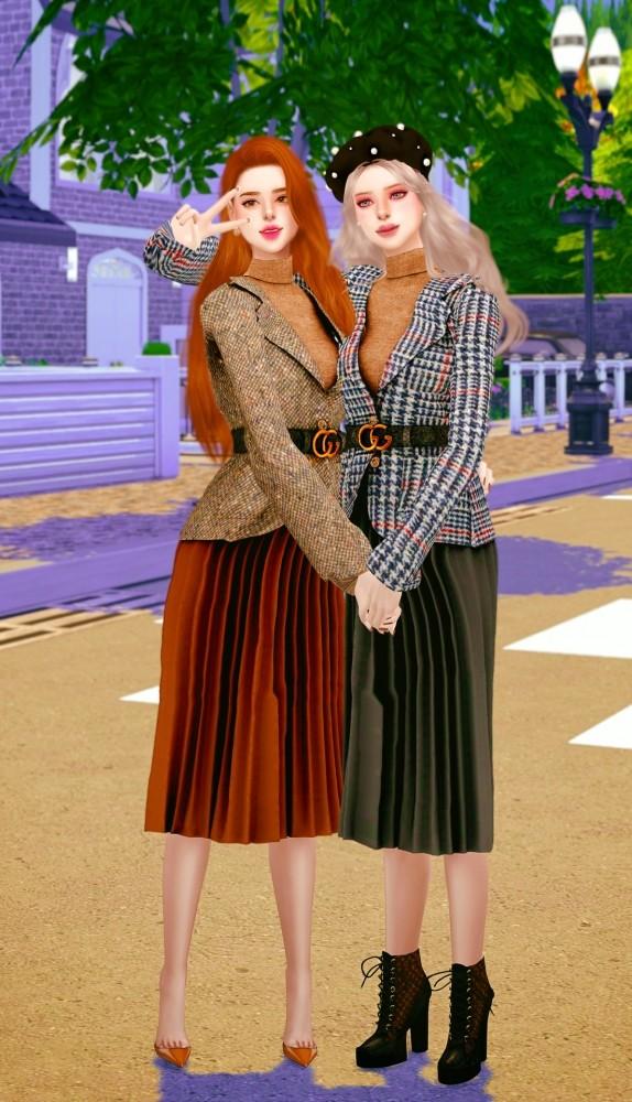 Belt jacket & pleated skirt at RIMINGs image 695 574x1000 Sims 4 Updates