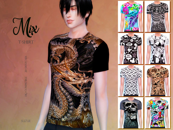 Sims 4 Mix T Shirt by Suzue at TSR