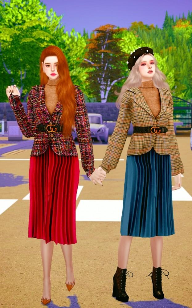 Belt jacket & pleated skirt at RIMINGs image 705 623x1000 Sims 4 Updates