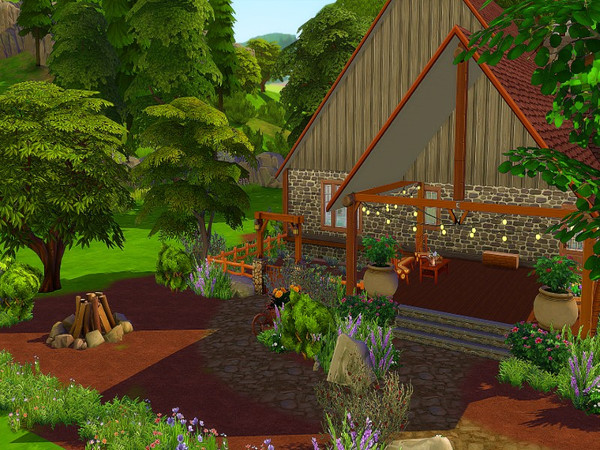 Sims 4 Country stone house by GenkaiHaretsu at TSR