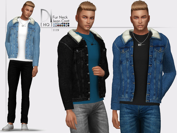 Sims 4 Fur Neck Denim Jacket by DarkNighTt at TSR