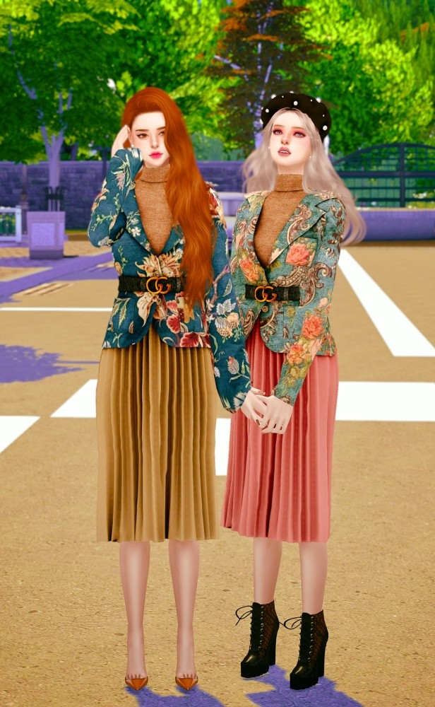 Belt jacket & pleated skirt at RIMINGs image 719 616x1000 Sims 4 Updates