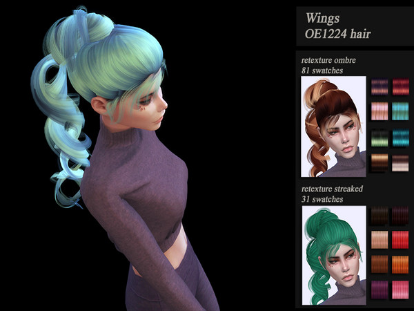 Sims 4 Female hair Wings OE1224 recolor by  HoneysSims4 at TSR