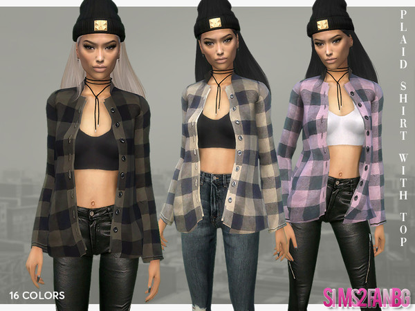 390 Plaid Shirt With Top by sims2fanbg at TSR image 7311 Sims 4 Updates