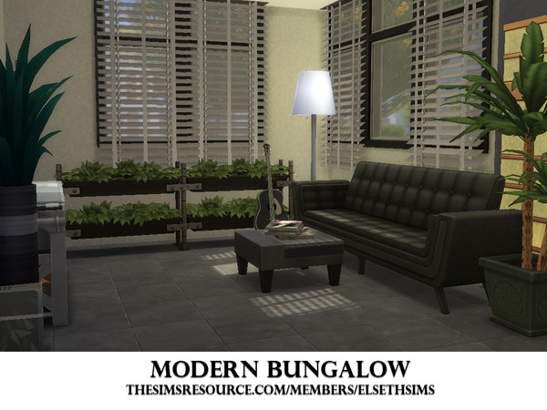 Sims 4 Modern Bungalow by ElsethSIMS at TSR