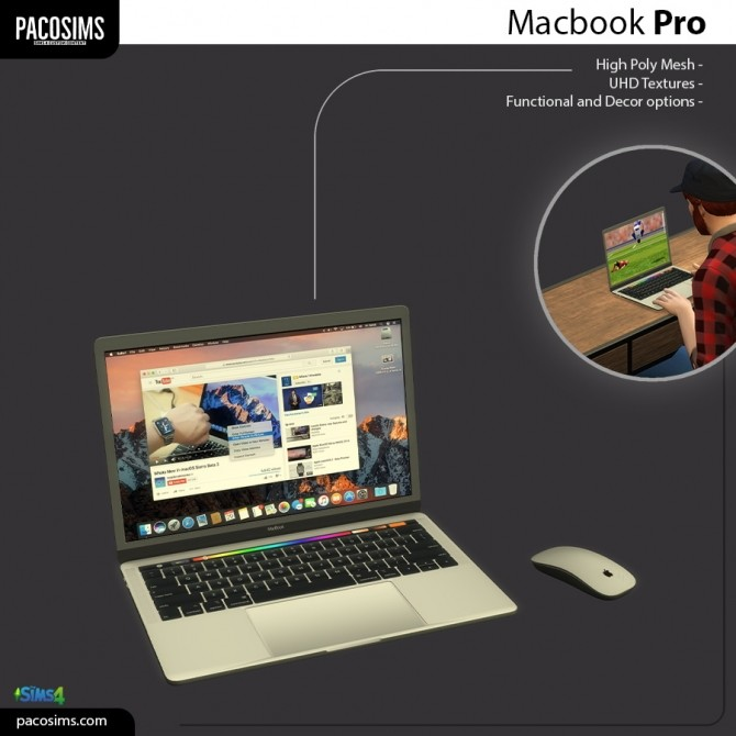 Sims 4 Apple MacBook Pro (P) at Paco Sims