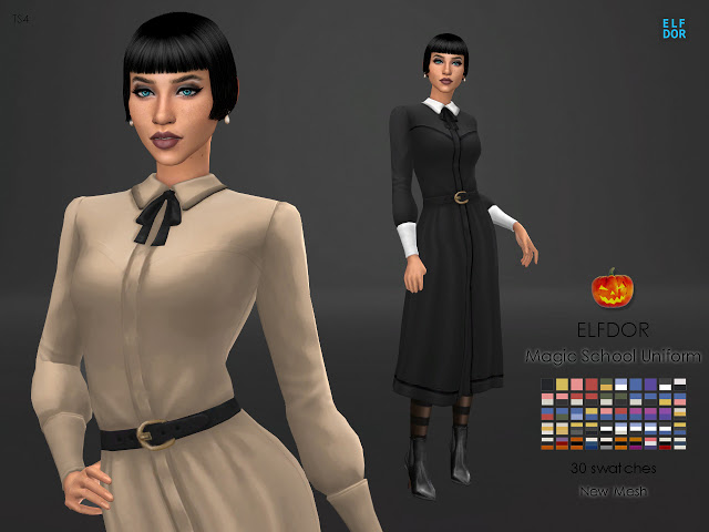 Sims 4 Magic School Uniform at Elfdor Sims