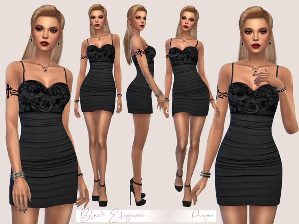 Sims 4 Black Elegance mini dress by Paogae at TSR