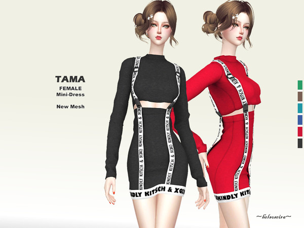 Sims 4 TAMA One Piece Mini Dress by Helsoseira at TSR