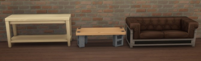 Sims 4 Concrete Blocks Side Table & Loveseat by therealmofsimblr at Mod The Sims