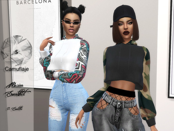 Sims 4 Marina Sweatshirt by Camuflaje at TSR