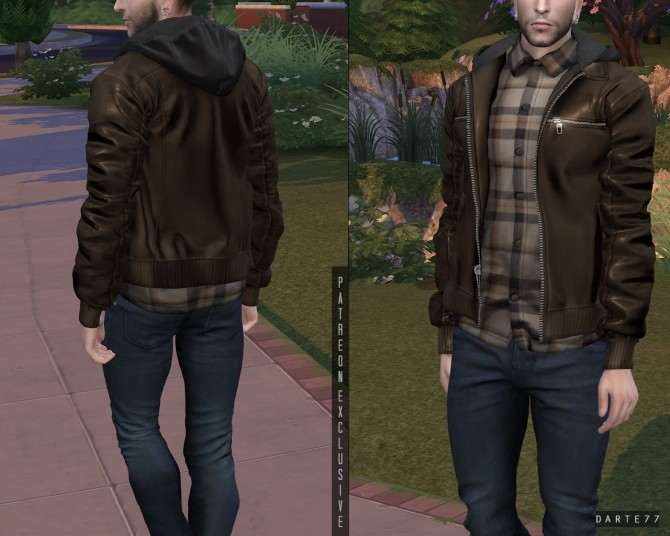 Sims 4 Hooded Leather Jacket Button up Shirt (P) at Darte77