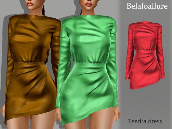 Sims 4 Belaloallure Teedra dress by belal1997 at TSR