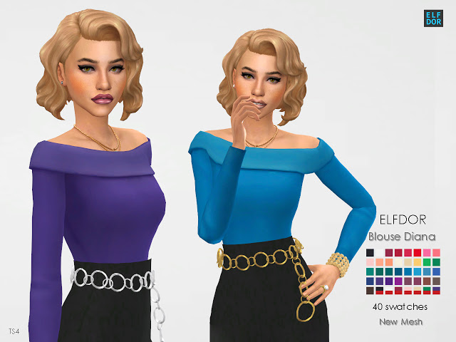 Sims 4 Diana blouse at Elfdor Sims
