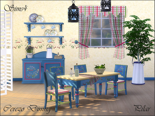 Sims 4 Cerezo country style dining by Pilar at TSR
