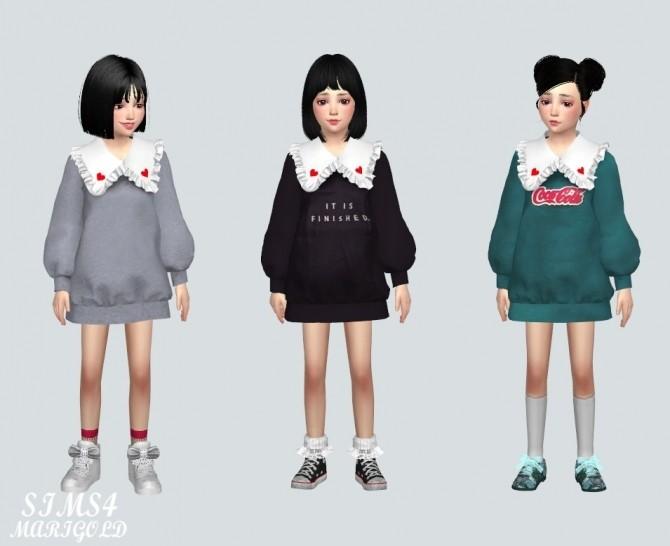 Child Frill Long Sweatshirts (P) at Marigold image 947 670x546 Sims 4 Updates