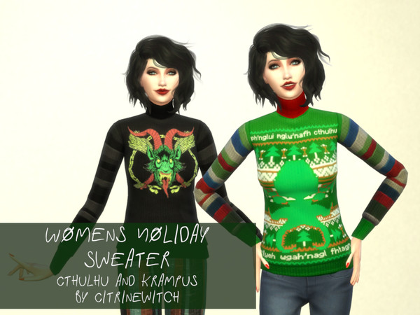 Womens Holiday Sweater Cthulhu and Krampus by Citrine Witch at TSR image 1 Sims 4 Updates