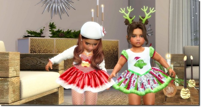 Sims 4 Christmas Set for Toddler Girls TS4 at Sims4 Boutique