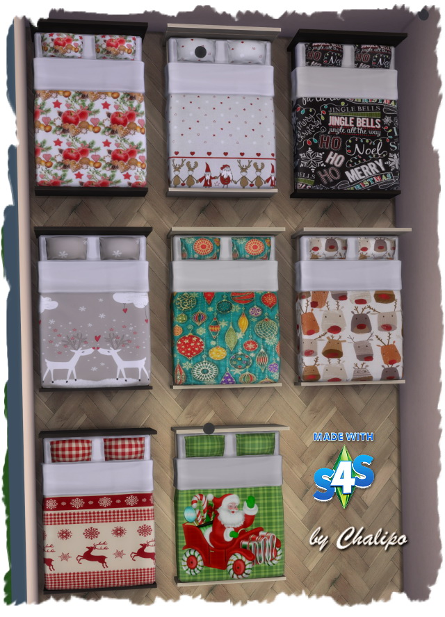 Sims 4 Christmas beds by Chalipo at All 4 Sims