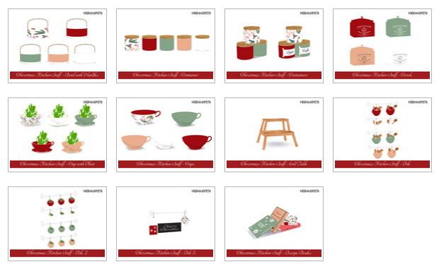 Sims 4 Christmas Kitchen Stuff Collection by neinahpets at TSR