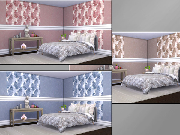 Sims 4 MB Opulent Wallwear Feathers SET by matomibotaki at TSR