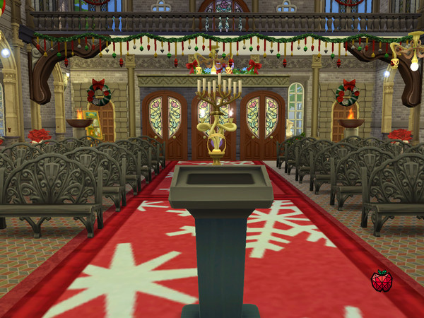 Sims 4 St Nicholas Church Christmas decorated by melapples at TSR