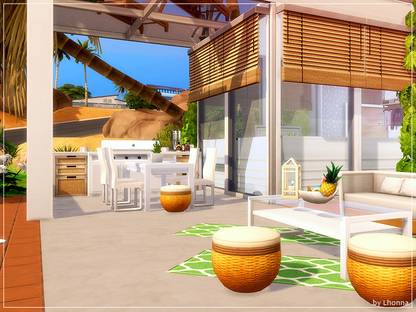 Sims 4 Orange Glass home by Lhonna at TSR