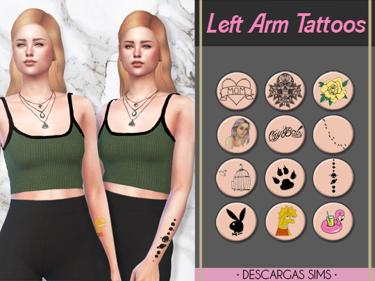 Sims 4 Left Arm Tattoos at Descargas Sims