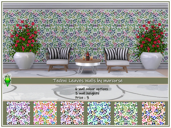 Sims 4 Techni Leaves Walls by marcorse at TSR