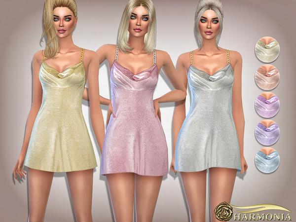 Sims 4 Iconic Embellished Satin Mini Dress by Harmonia at TSR