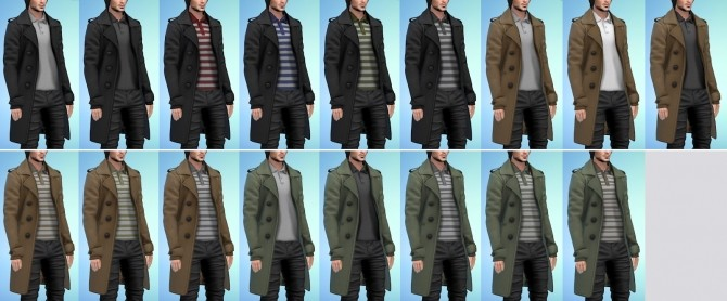 Sims 4 Double Breasted Long Coat V1 & V2 at Darte77