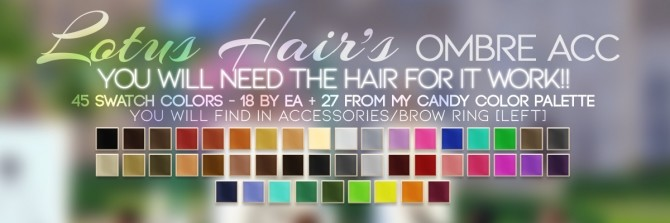 Sims 4 LOTUS HAIR'S OMBRE ACC at Candy Sims 4