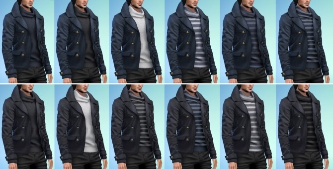 Sims 4 Navy Pea Coat at Darte77