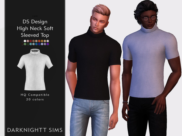 Sims 4 DS Design High Neck Soft Sleeved Top by DarkNighTt at TSR