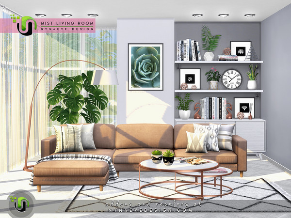 Sims 4 Mist Living Room by NynaeveDesign at TSR