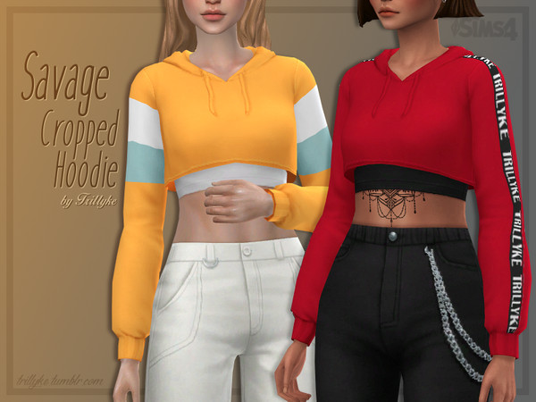 Sims 4 Savage Cropped Hoodie by Trillyke at TSR