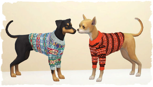 Sims 4 Sweater for small dogs by Chalipo at All 4 Sims