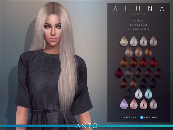 Sims 4 Aluna Hairstyle by Anto at TSR