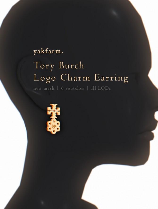 Sims 4 Tory Burch Logo Charm Earrings at Yakfarm