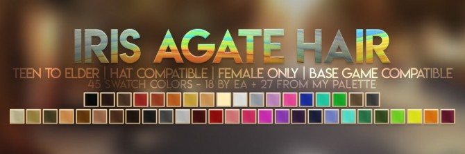 Sims 4 IRIS AGATE HAIR + DUO TONE ACC RECOLOR at Candy Sims 4