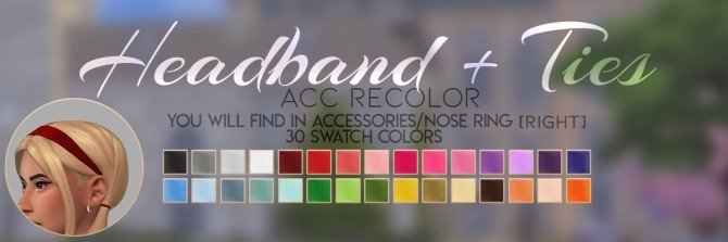 LOTUS HAIR + HEADBAND + TIES ACC RECOLOR at Candy Sims 4 image 14110 670x223 Sims 4 Updates