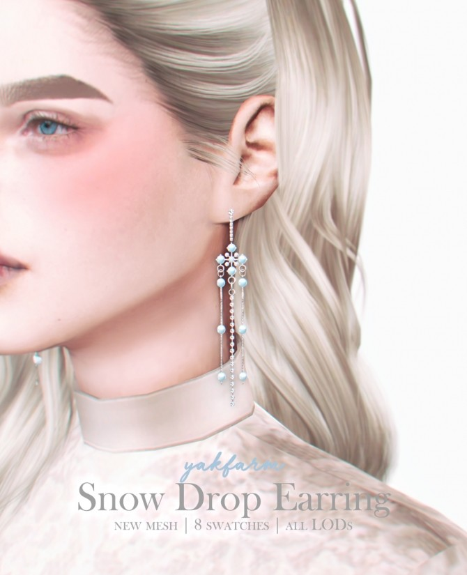 Sims 4 Snow Drop Earrings at Yakfarm
