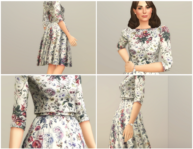 Sims 4 Floral Print Two Piece Dress at Rusty Nail