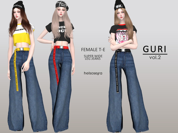 Sims 4 GURI wide leg jeans by Helsoseira at TSR