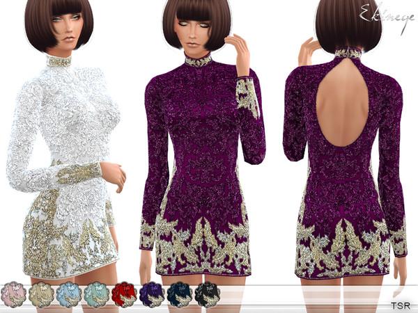 Sims 4 Open Back Beaded Mini Dress by ekinege at TSR