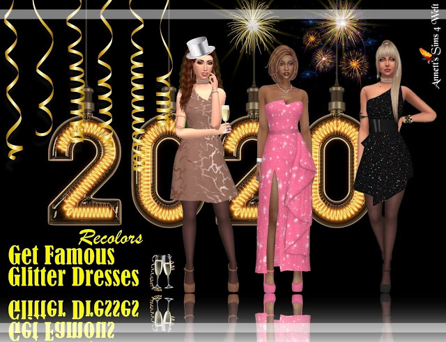 Sims 4 Get Famous Glitter Dress Recolors at Annett's Sims 4 Welt