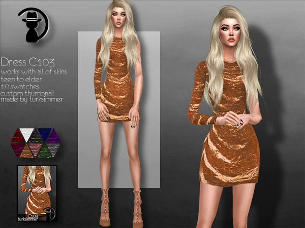 Sims 4 Dress C103 by turksimmer at TSR