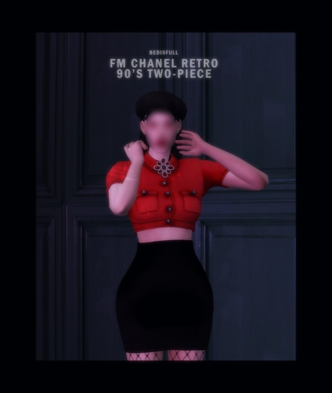 FM chanel retro 90'S two piece at Bedisfull – iridescent image 1857 670x792 Sims 4 Updates